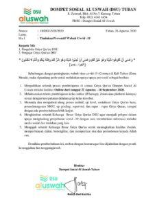 Surat resmi DSU Tuban (Sumber: DSU/2020)