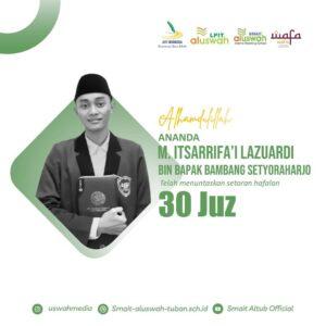 Flyer ucapan M. I. Lazuardi dari SMAIT Al Uswah Tuban (Sumber: uswahpedia/2021)