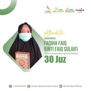 Flyer ucapan Faqiha Faiq dari SMAIT Al Uswah Tuban (Sumber: uswahpedia/2021)