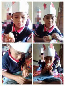 Kolase siswa KBIT Al Uswah mengupas telur (2) (Foto: Reny/2021)